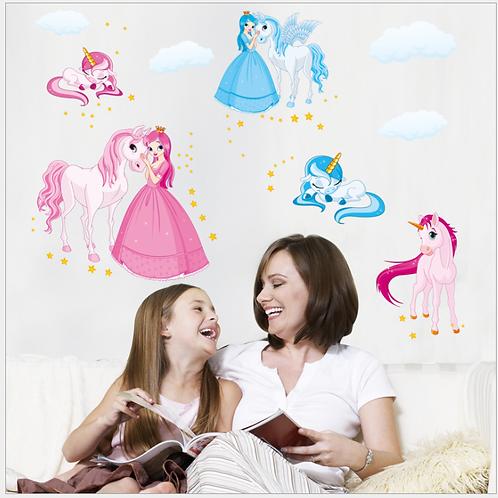 Princesses & little Pony -מדבקת קיר חד קרן ונסיכות