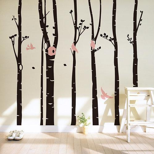 Large Forest - מדבקת קיר - יער גדול עם ציפורים