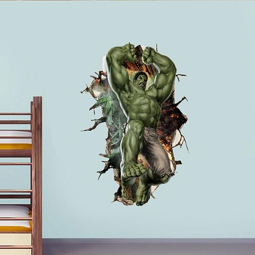הענק הירוק פורץ מהקיר תלת מימד
