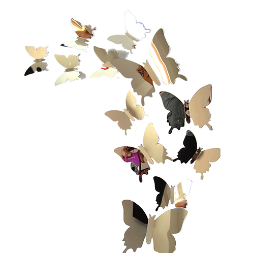 מדבקת קיר מראה פרפרים תלת מימד