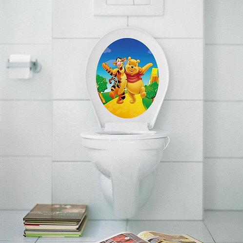 Winnie The Poohs - מדבקת קיר למושב האסלה פו הדוב וטיגר