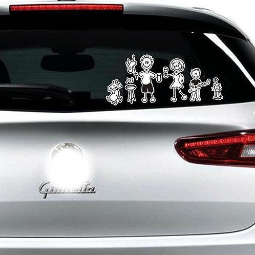 My Family - מדבקת קיר לרכב - המשפחה עם כלב וחתול