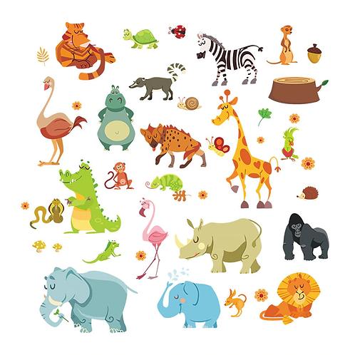 מדבקת קיר - חיות הג'ונגל במצויר לחדר ילדים