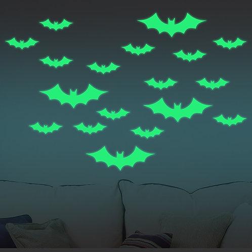 Bats - מדבקות קיר זוהרות בחשיכה -עטלפים בגדלים