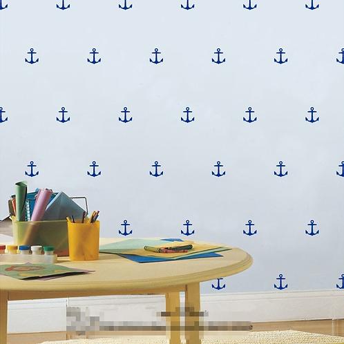 מדבקת דמוי טפט עוגן כחול לחדר ילדים