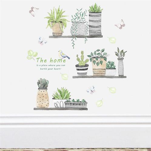מדבקת קיר לסלון ולמטבח צמחי גן בונסאי ציפור ופרפרים