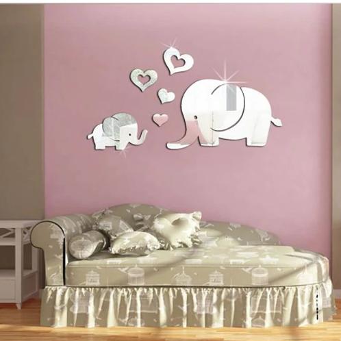 מדבקת קיר מראה תלת מימד- פילים