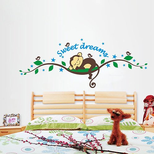 Sweet Dreams - מדבקת קיר - קוף ישן על ענף