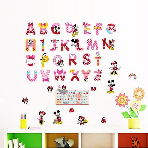 ABC letters - מדבקת קיר מיקי ומיני מאוס
