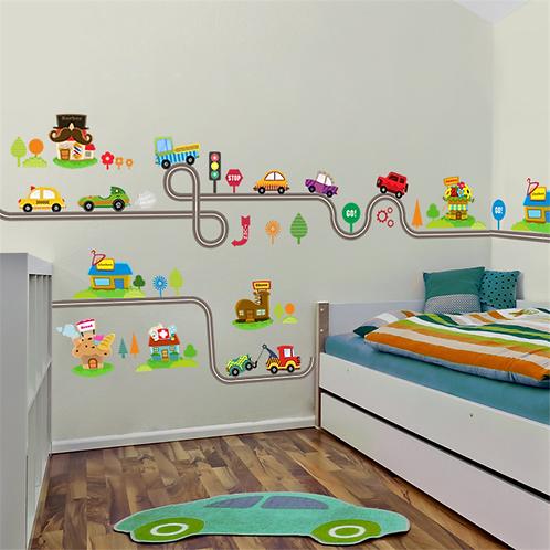 מסלול מכוניות מצוירות לעיצוב חדר הילדים