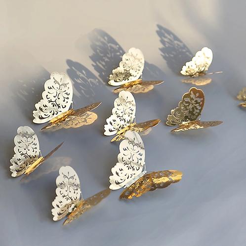 מדבקת קיר- פרפרים זהב וכסף תלת מימד