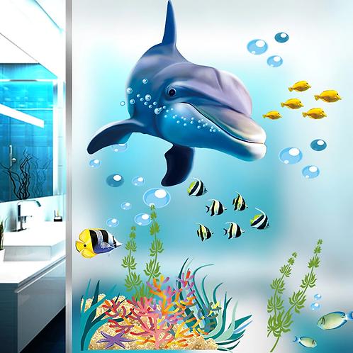 מדבקת קיר - דגים ודולפין באוקיינוס