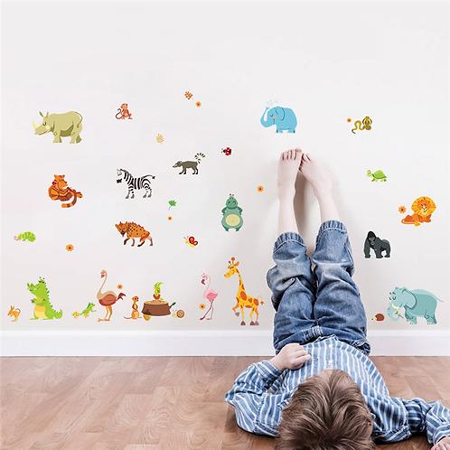 מדבקת קיר - חיות הג'ונגל במצוייר לחדר ילדים