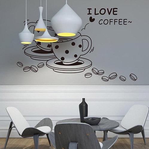 I Love Coffee - מדבקת קיר לבית קפה - אני אוהב קפה