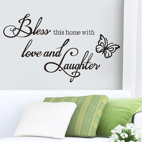 bless This home - מדבקת קיר - יבורך הבית הזה באהבה וצחוק