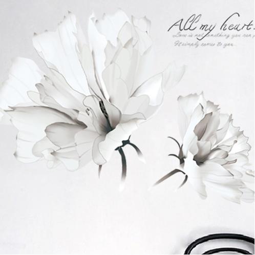 מדבקת אומנות פרח לבן דקורטיבי