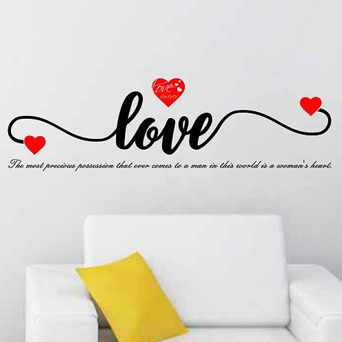 LOVE Women Heart - מדבקת קיר אהבה -הנכס יקר הערך בעולם הוא לב האישה