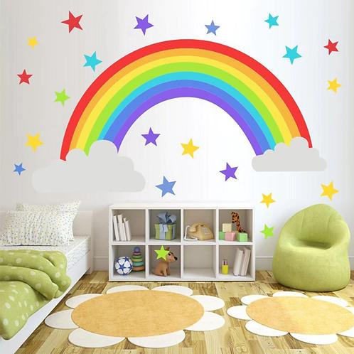 קשת בענן עם כוכבים צבעוניים