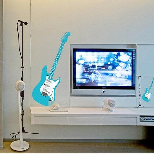 Electric Guitar and Microphone - מדבקת קיר - גיטרה חשמלית ומיקרופון