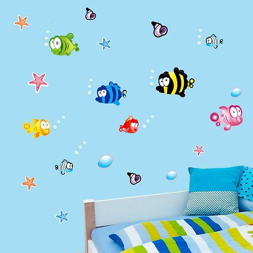 מדבקת קיר - דגים עם בועות מתחת למים לחדר ילדים
