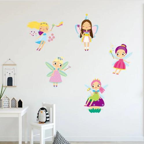מדבקת קיר מלאכיות קסומות לחדר ילדות