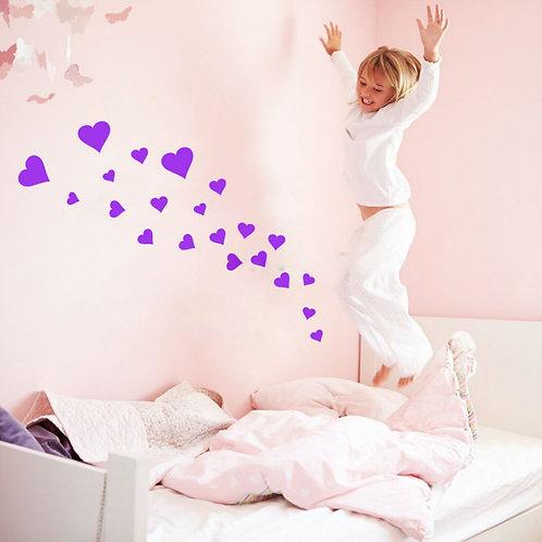 Loving Hearts - מדבקת קיר - לבבות בצבעים ובגדלים שונים