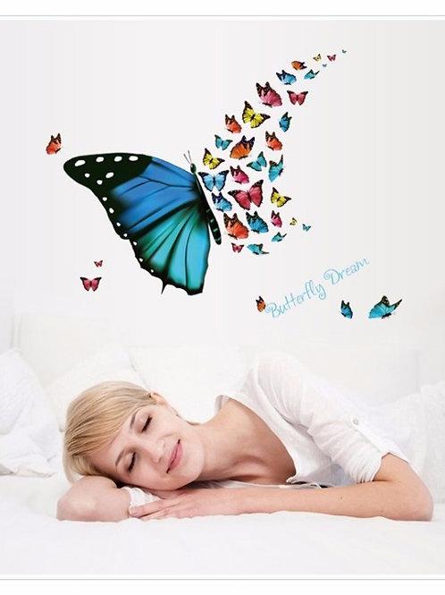 Beautiful Butterfly - מדבקת קיר פרפר צבעוני מרהיב מורכב מפרפרים קטנים