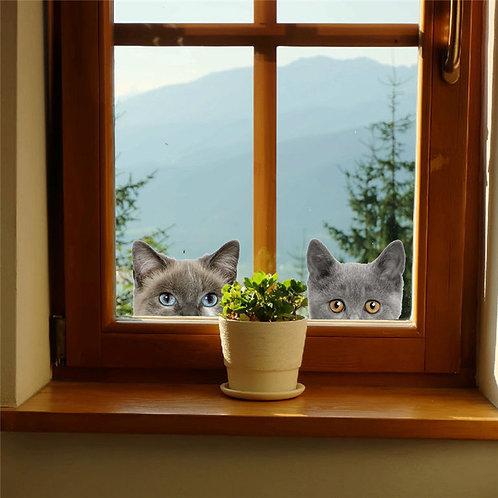 Sweet Cats & Dog - מדבקת קיר חתולים וכלב מקסימים מביטים