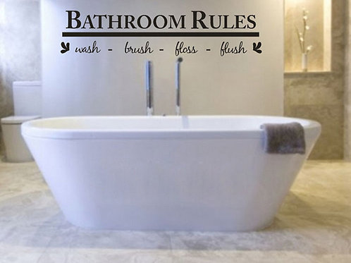 Bathroom Rules - מדבקת קיר - כללי חדר הרחצה