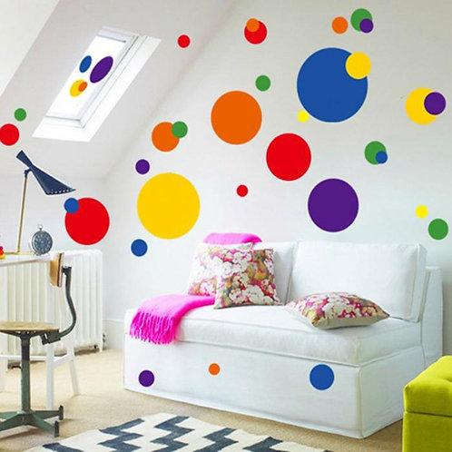 Polka Dots - מדבקת קיר - נקודות פולקה צבעוניות
