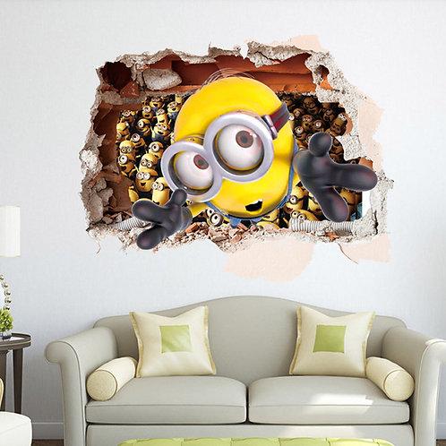 The Minions - מדבקת קיר - המיניונים מבעד לחור בקיר