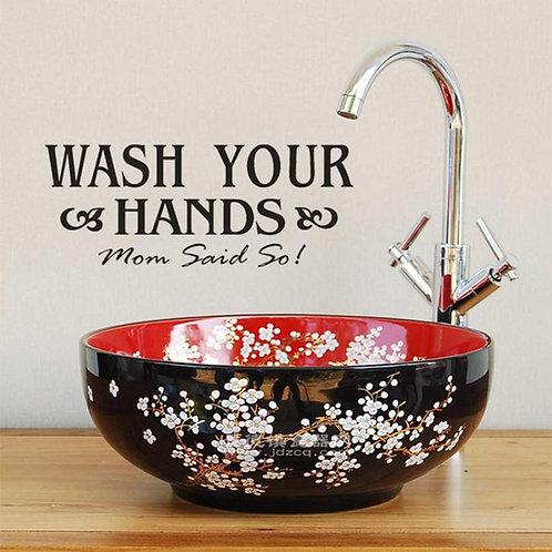 Wash your hands - מדבקת קיר רחץ ידיים
