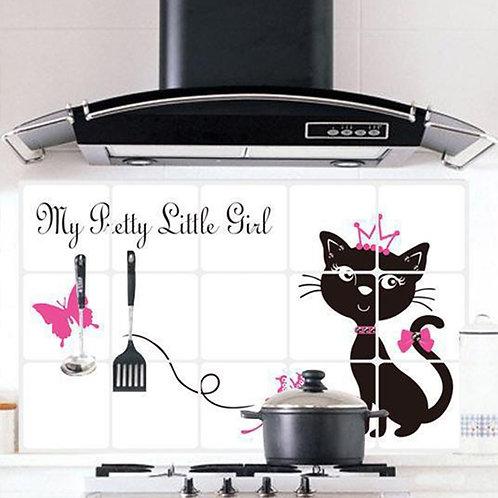 Cute Cat - מדבקת קיר לכיריים גז - חתול חמוד