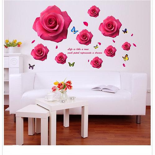 Roses - מדבקת קיר - פרחי ורד ורודים ופרפרים