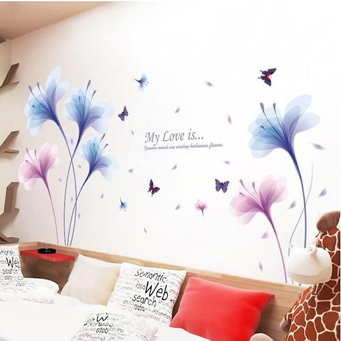 מדבקת קיר סחלב כחול וורוד עם פרפרים