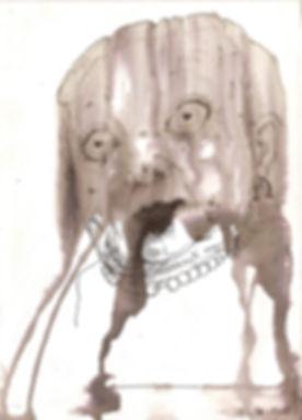 dessin encre femme portrait grotesque noir blanc art