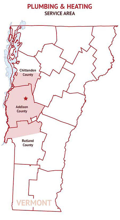 Plumbing & Heating Service Area for Champlain Valley Plumbing & Heating