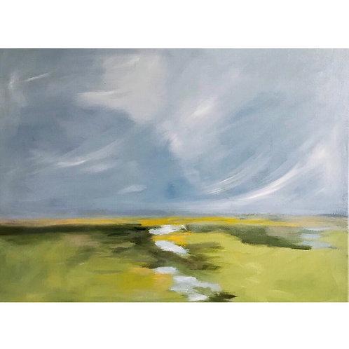 """Windswept,"" Framed 20x26 oil painting"