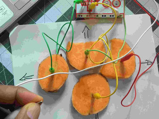 How  to make a video game controller with a sweet potato and a Makey Makey electronic board