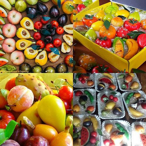 Сицилийское марципановое пирожное в виде фруктов Frutomortarana