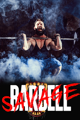 TeamFFLEX barbell savage training program for men and women that want to build strength. Man lifting weight, front squatting with smoke