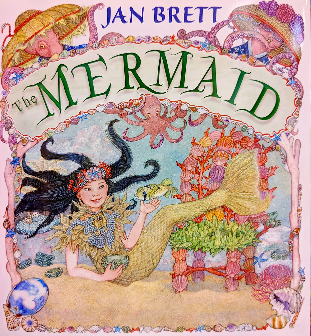 illustration from book cover with a mermaid under the sea surrounded by octopi, fish and seashells