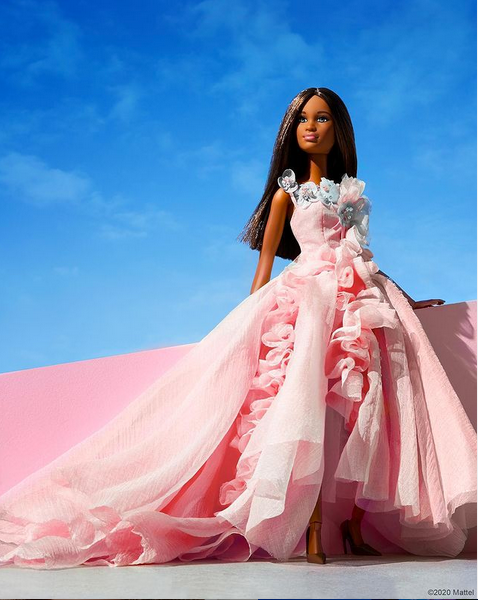 Barbie doll in glamorous flowing pink gown