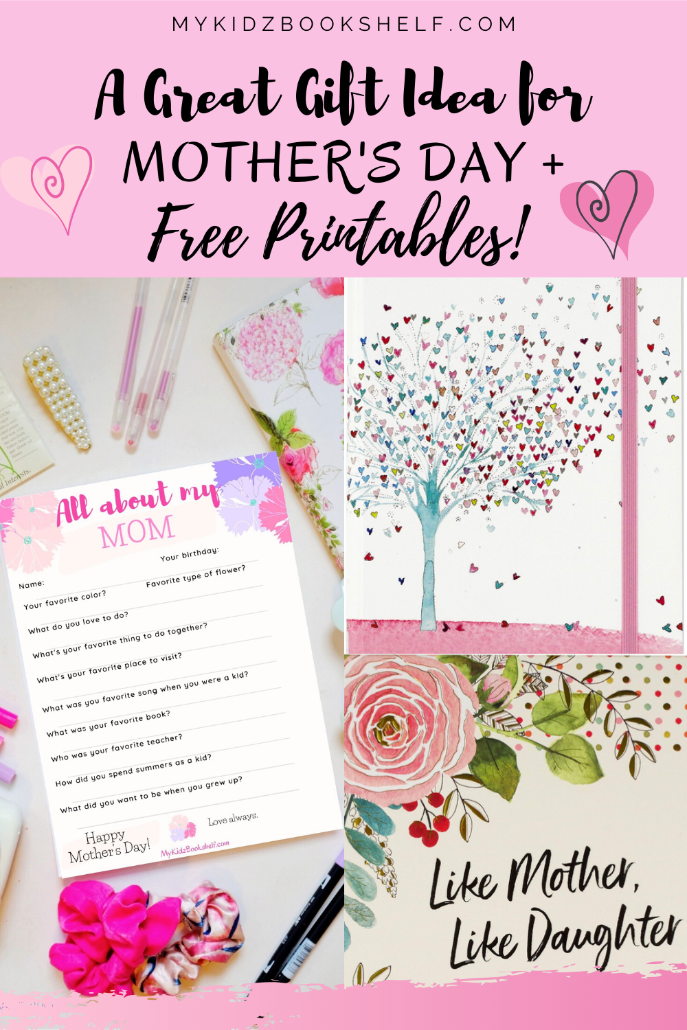 A great Gift Idea for Mother's Day + Free Printables questionaire, journal cover,