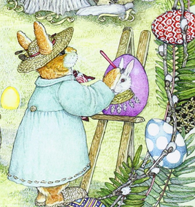 illustration from Jan Brett's The Easter Egg - bunny with hat, dress and slippers paints an Easter egg while outside
