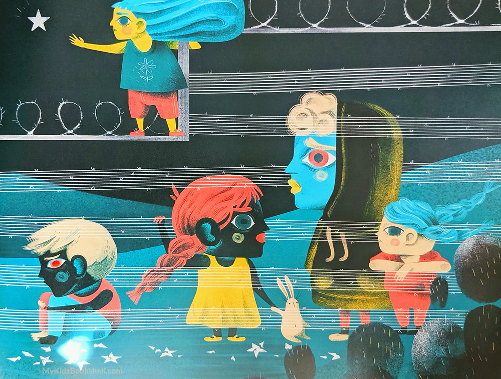 Illustration from Hear My Voice childrens book of immigrant family at southern border of United States