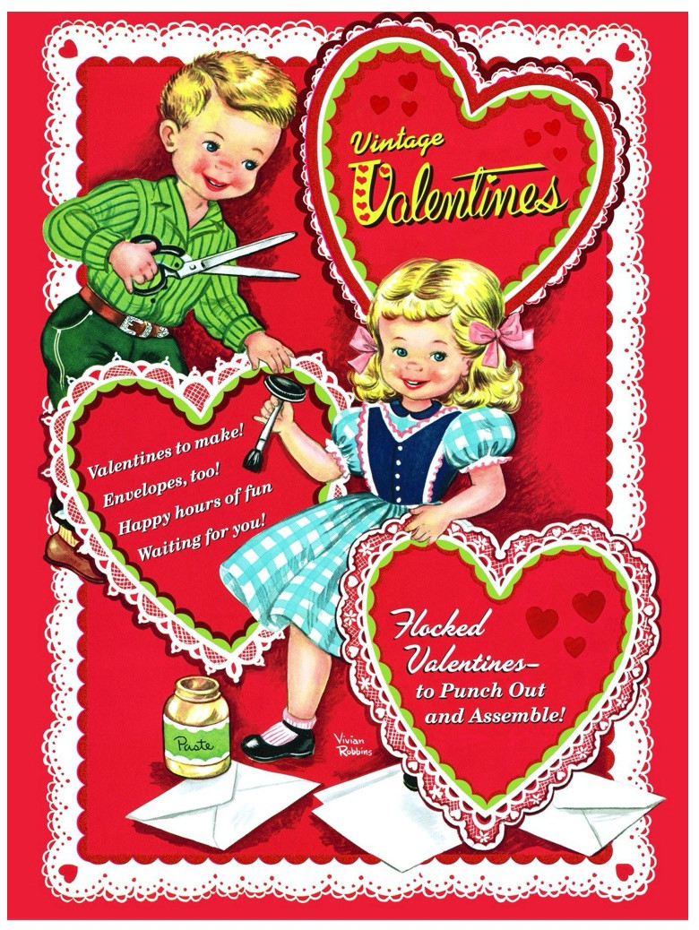 Little Golden Book Vintage Valentines book retro style book cover with boy and girl and valentines