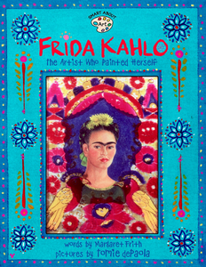 book cover Frida Kahlo shows artist on front cover surrounded by colorful dotted floral patterns