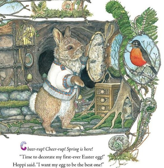 illustration from Jan Brett's The Easter Egg shows a bunny standing outside his home with a robin looking on