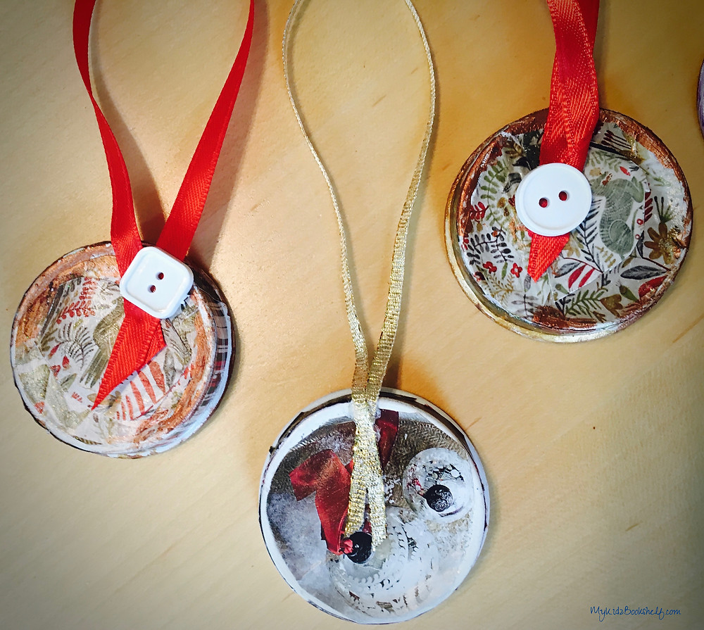 back of Starbucks bottle Cap DIY Christmas ornaments craft